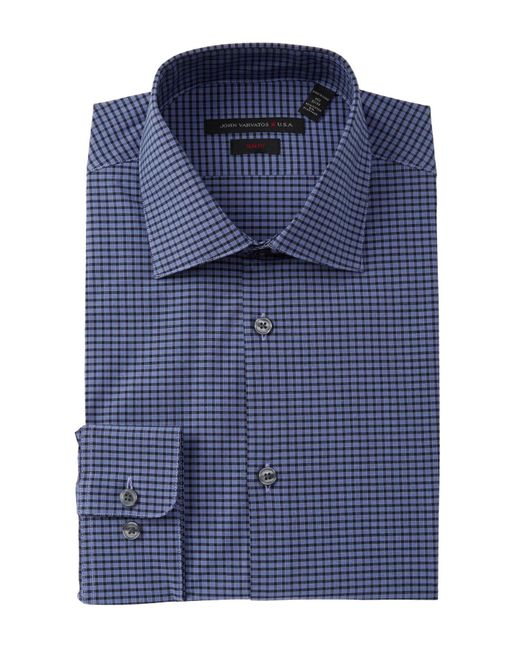 John Varvatos | Blue Slim Fit Dress Shirt With Stitch for Men | Lyst