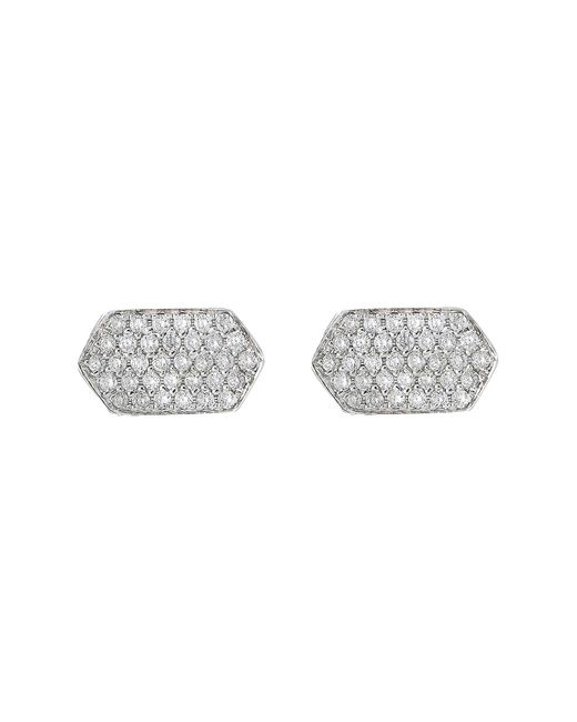 Bony Levy - Metallic 18k White Gold Pave Diamond Geo Stud Earrings - 0.15 Ctw - Lyst