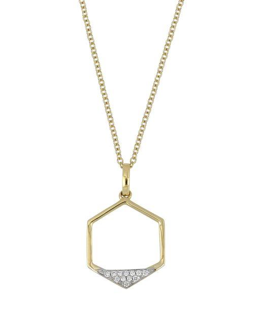 Bony Levy - Metallic 18k Yellow Gold Diamond Hexagon Pendant Necklace - 0.04 Ctw - Lyst