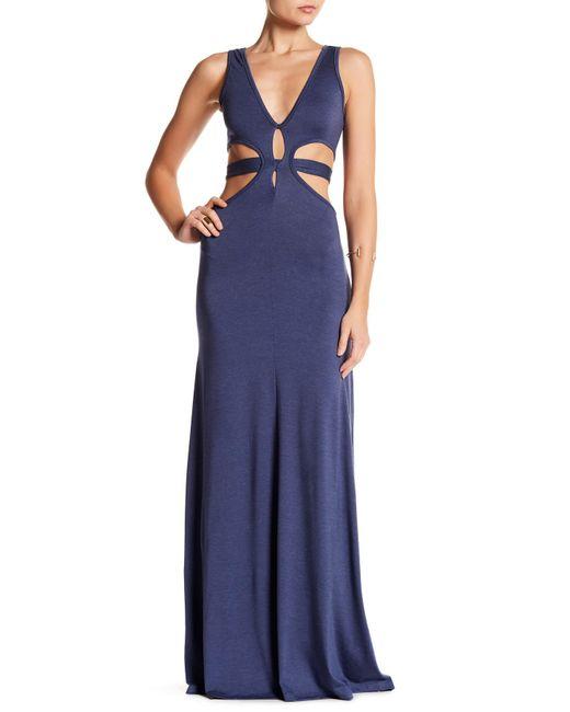 Go Couture - Blue Front Cutout Maxi Dress - Lyst