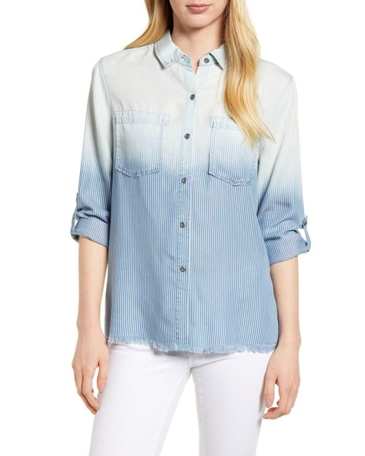 BILLY T - Blue Laced Back Button Up Shirt - Lyst