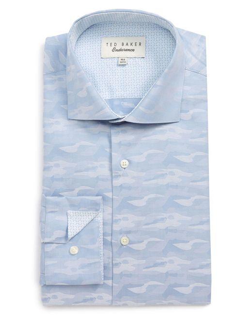 Ted Baker Blue Endurance Extra Slim Fit Camo Dress Shirt for men
