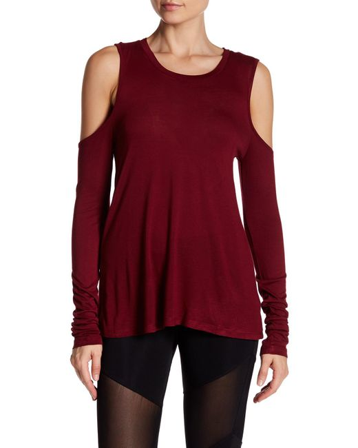 Sam Edelman - Red Long Sleeve Cold Shoulder Tee - Lyst