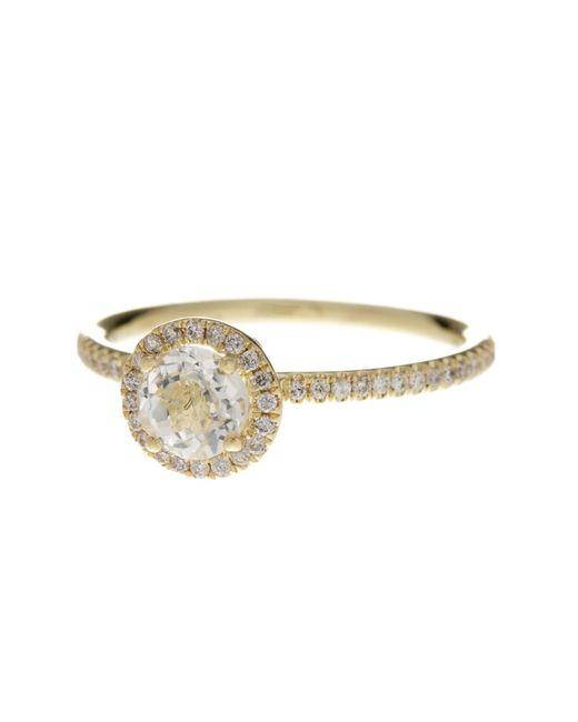 Meira T   Metallic 14k Yellow Gold White Topaz & Diamond Ring - Size 6 - 0.18 Ctw   Lyst