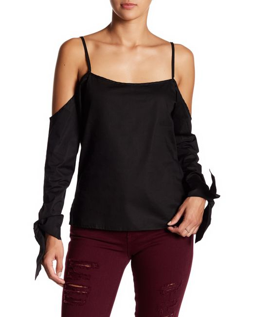 Lucca Couture   Black Camilla Cold Shoulder Blouse   Lyst