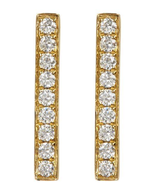 Bony Levy - Metallic 18k Yellow Gold Pave Diamond Bar Earrings - 0.22 Ctw - Lyst