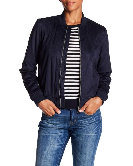 Bagatelle | Blue Embroidered Faux Suede Bomber Jacket | Lyst