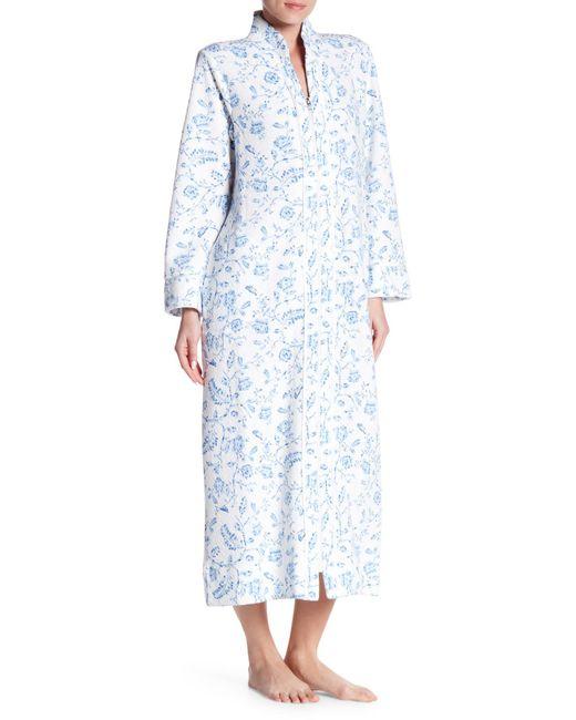 Carole Hochman   Blue Printed Long Sleeve Zip Robe   Lyst