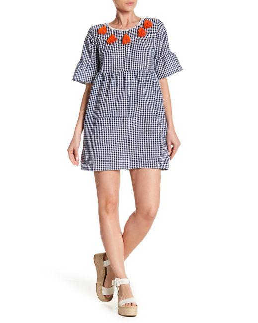 Haute Rogue - Blue Tassel Trim Gingham Bell Sleeve Dress - Lyst