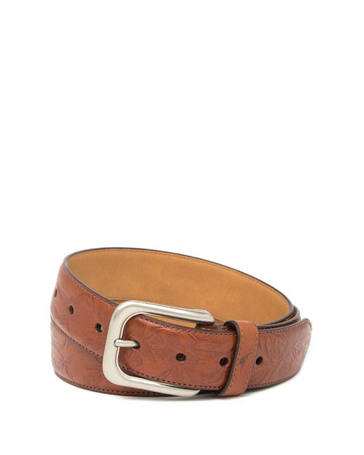 Tommy Bahama Brown Drop Edge Stitch Embossed Belt for men