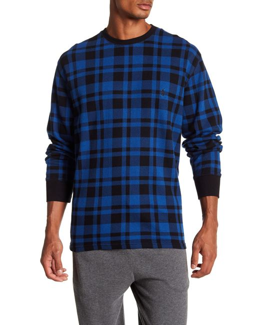 Polo Ralph Lauren - Blue Plaid Waffle Knit Long Sleeve Tee for Men - Lyst