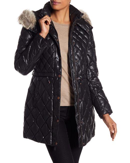 Andrew Marc - Black Kavi Genuine Coyote Fur Trim Diamond Quilted Jacket - Lyst