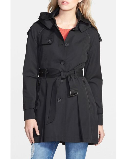 French Connection | Black Detachable Hooded Trench Coat | Lyst