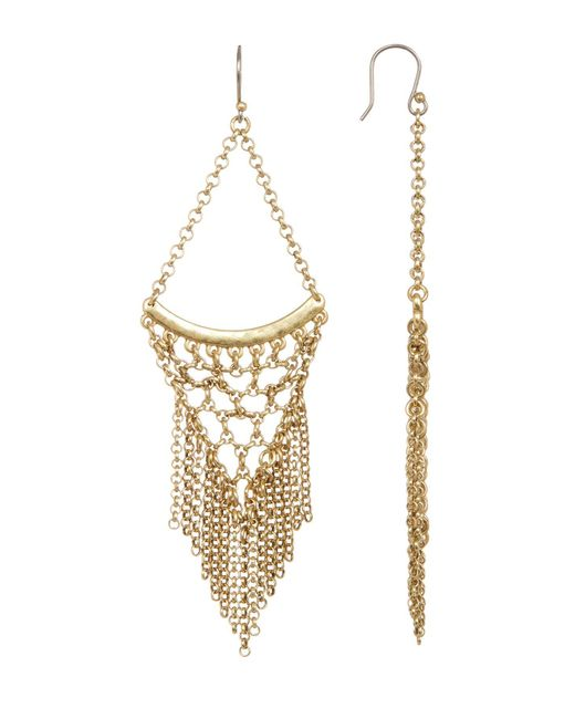 Lucky Brand - Metallic Antique Finish Tiered Chain Fringe Statement Earrings - Lyst