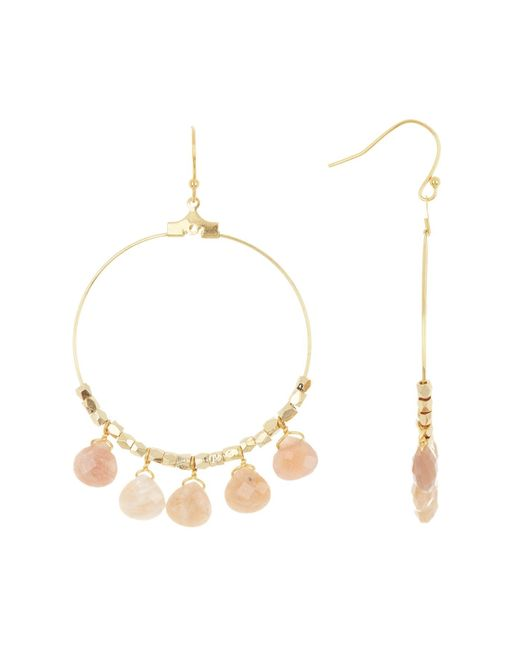 Panacea Metallic Peach Stone Drop Hoop Earrings