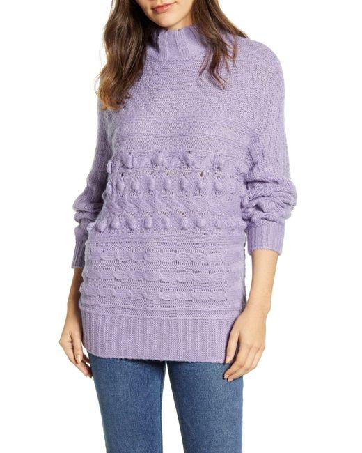 Caslon Purple Caslon Textured Mock Neck Sweater