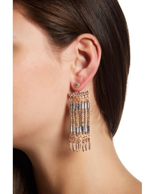 Steve Madden   Orange Two-tone Bead Detail Fringe Front & Back Earrings   Lyst