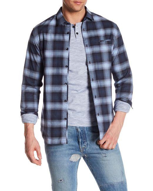 Good Man Brand - Blue Plaid Long Sleeve Trim Fit Shirt for Men - Lyst