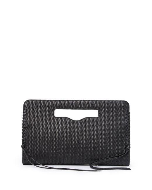 Rebecca Minkoff Black Handheld Woven Leather Clutch