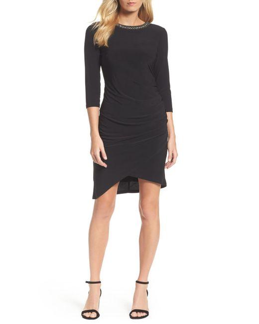 Chetta B - Black Jeweled Neck Sheath Dress - Lyst