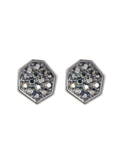 Ariella Collection - Multicolor Pave Geometric Earrings - Lyst