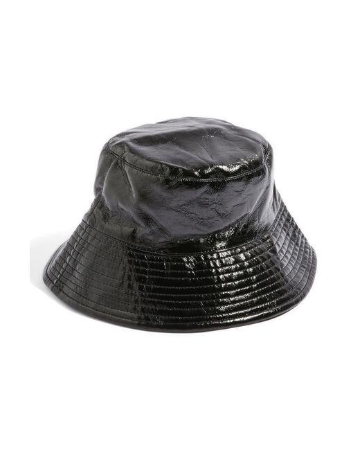 TOPSHOP - Black Vinyl Bucket Hat - Lyst