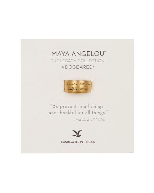 Dogeared - Metallic 14k Gold Vermeil Maya Angelou Be Present In All Things Band Ring - Size 5 - Lyst
