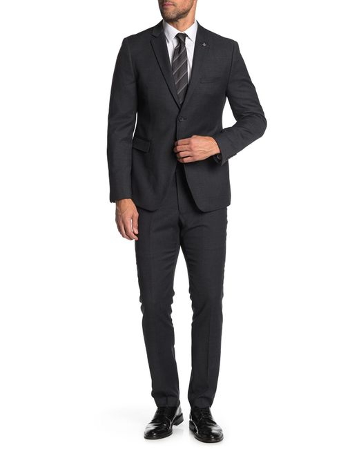 Original Penguin Gray Solid Wool Blend 2-piece Trim Fit Suit for men