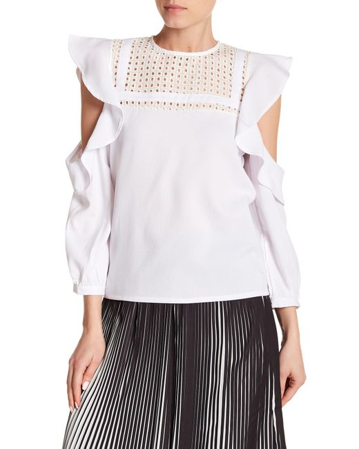 Haute Rogue - White Cold Shoulder Ruffled Top - Lyst