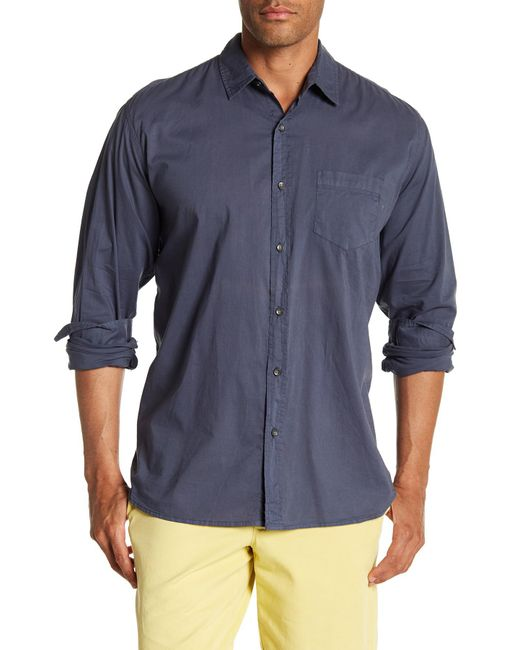 Velvet By Graham & Spencer - Blue Front Button Long Sleeve Classic Fit Shirt for Men - Lyst