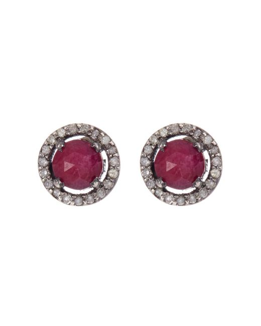 Adornia Red Sterling Silver Echo Ruby & Champagne Diamond Halo Stud Earrings