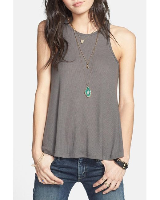 Free People | Gray 'long Beach' Tank | Lyst