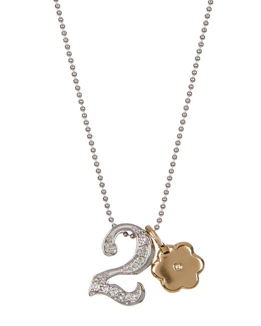 Alex Woo - Multicolor 14k White Gold Little Number '2' Diamond Pendant Necklace - 0.06 Ctw - Lyst