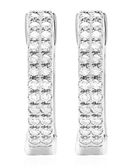 EF Collection - 14k White Gold Double Diamond Huggie Earrings - 0.12 Ctw - Lyst