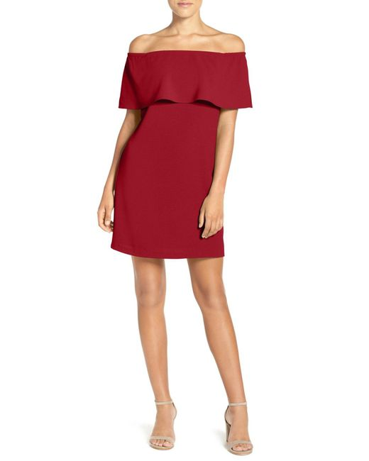 Charles Henry - Red Off The Shoulder Dress - Lyst