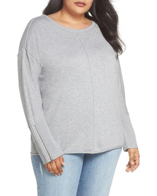 Caslon - Gray (r) Mix Gauge Zip Cuff Sweater (plus Size) - Lyst