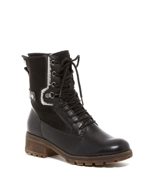 lyst tamaris talues faux shearling lined combat boot in. Black Bedroom Furniture Sets. Home Design Ideas