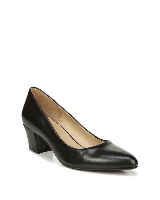 Naturalizer Black Carmen Leather Block Heel Pump