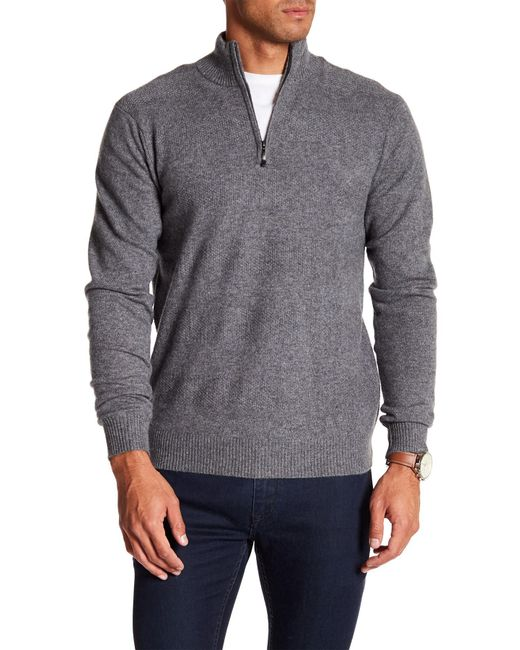 Qi | Gray Partial Zip Cashmere Sweater for Men | Lyst