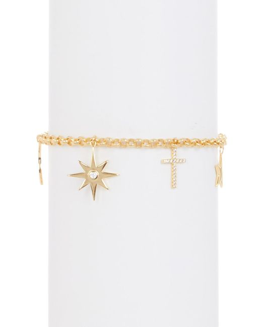 Argento Vivo - Metallic 18k Gold Plated Sterling Silver Cz Accented North Star Charm Bracelet - Lyst