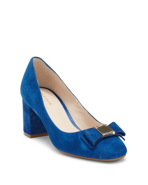 Cole Haan - Blue Tali Bow Suede Pump - Lyst