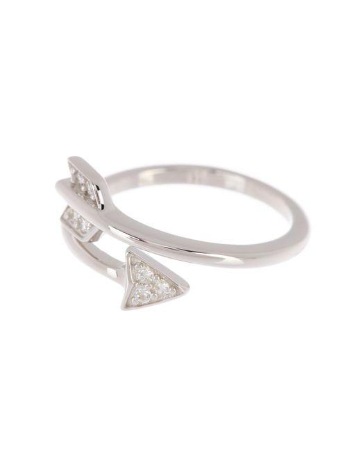Adornia Metallic Arrow Wrap Around Swarovski Crystal Ring
