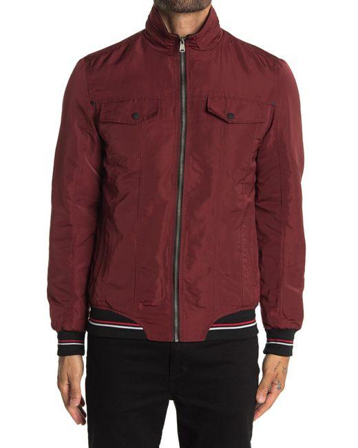 Indigo Star Red Racine Woven Zip Jacket for men