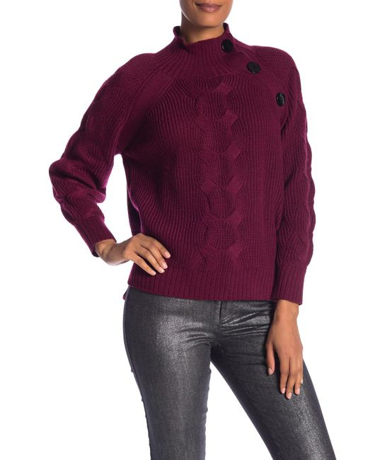 Laundry by Shelli Segal - Purple Mock Neck Cable Sleeve Sweater - Lyst