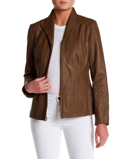 Cole Haan - Brown Genuine Leather Front Zip Wing Collar Jacket - Lyst