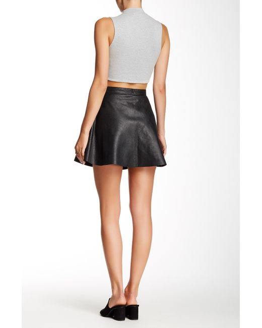 american apparel genuine leather circle skirt in black