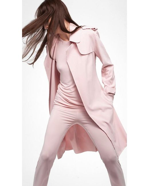 Norma Kamali | Pink Double Breasted Trench | Lyst