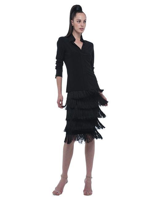 Norma Kamali | Black Skirt All Over Fringe | Lyst