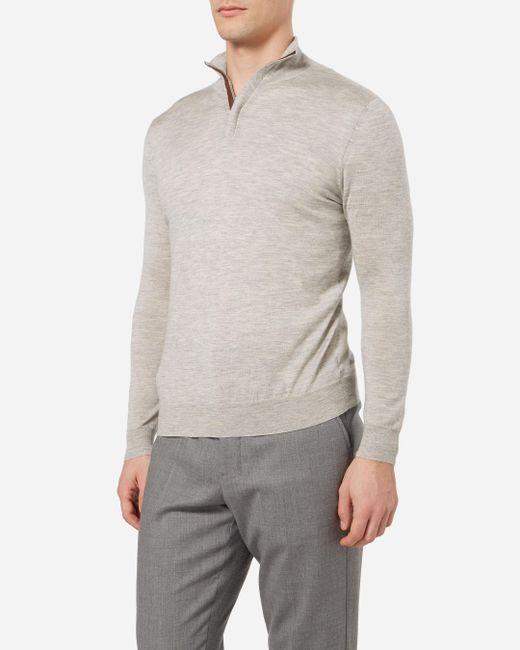 N.Peal Cashmere - Gray The Regent Fine Gauge Half Zip Sweater for Men - Lyst