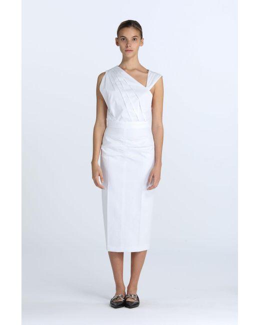 N°21 White Pleated Asymmetric Dress